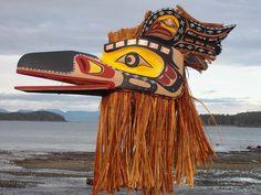 Northwest Coast First Nation LARGE! native Art carved RAVEN MASK, superb Quality