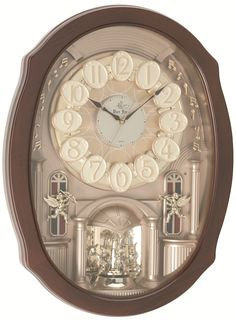 The warmth and charm of this quartz powered #Hermle musical motion wall #clock will bring delight to your entire family. As the clock strikes each hour, lights twinkle and the ornate pendulum and Arabic numerals rotate in unison. It has 3 chime settings, each with 6 melodies.