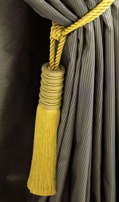 Gorgeous Yellow Curtain Tie Backs - Kediri Tie Backs From Osborne and Little. REALLE NICE SHAPE - IF TOP WAS WRAPED OR BEADED?