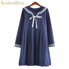 >> Click to Buy <<  autumn summer new women's dress female cotton-line Japanese Naval College style sweet striped pure girls long sleeve dress  #Affiliate