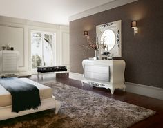 was actually looking for chest of drawers inspiration, but then the wall, the rug the spacious room... my word.. this is my bedroom <3<3