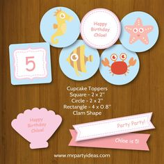 Underwater Birthday Party Printables - Cupcake Toppers Selection (Seahorse, Starfish, Fish, Crab) by mrpartyideas.com.