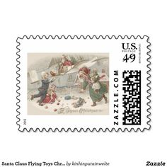 Santa Claus Flying Toys Christmas Tree Children Postage Stamps