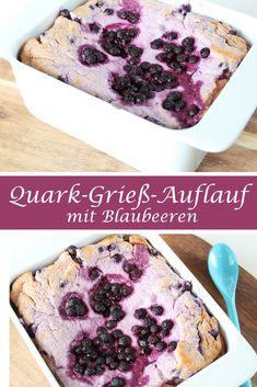 Rezept für einen leckeren Quark-Grieß-Auflauf mit Blaubeeren. Kalorienarm, sättigend und wirklich lecker!
