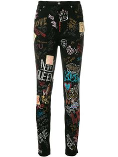 Queen printed high rise skinny jeans by Dolce & Gabbana Dolce And Gabbana Jeans, Dolce & Gabbana, Painted Jeans, Painted Clothes, Colored Skinny Jeans, Denim Skinny Jeans, Cuffed Jeans, Punk Outfits, Cool Outfits