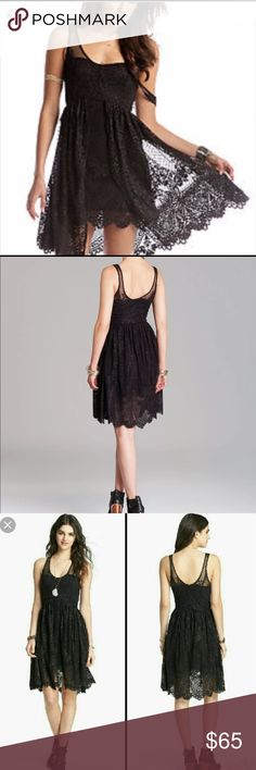 """NWT Free People Foil Print Lace Salinas dress New with tags FREE PEOPLE Salinas Foul dress. Metallic thread adds a touch of shimmer to a romantic lace. A riches overlay accents the skirt, and the raw hem falls in delicate scallops. Sheer straps and scoop neckline. Hidden side zipper. 39"""" length from shoulder Free People Dresses Mini"""