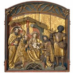 Painted and gilded limewood panel depicting the Adoration of the Magi, by Augustin Henckel, Schaffhausen, Switzerland, 1500-1520. Museum no. 2418-1856