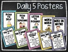 Daily 5 Posters - Read to Self, Listen to Reading, Read to Someone, Word Work, Work on Writing