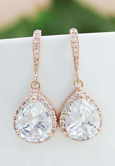 awesome Bridal Earrings Bridesmaid Gift Wedding Earrings Bridal Jewelry LUX Rose Gold