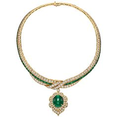 http://rubies.work/0564-emerald-rings/ Van Cleef & Arpels ~ Emerald Diamond Pendant Necklace, set in gold.