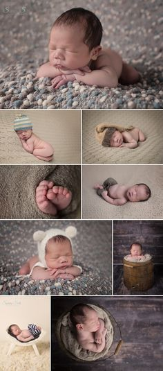 11 day old Ryan and his neutral brown toned newborn photography session. Studio photos done by Sunny S-H Photography