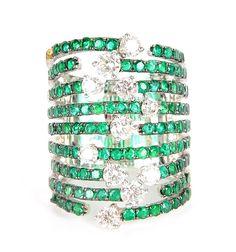 18k White Gold Diamond and Emerald Ring #EBTH