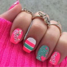 Shocking pink, for me it's too much going on. lol But I love the ring finger color!