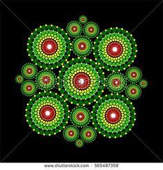 Beautiful vibrant colorful mandala pattern with dots