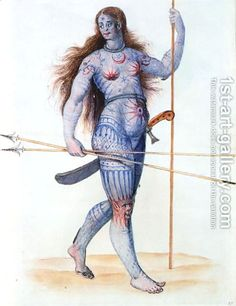 Tattooed woman of the British Isles totally rockin' it before battle.
