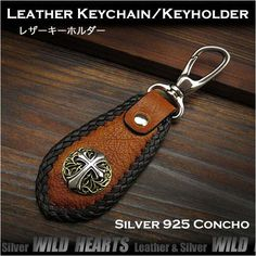 Concho can be selected according to your taste !   Horsehide Leather Keychain Ring/Holder/Silver Concho Dark Orange WILD HEARTS Leather&Silver(ID kh3422r7)http://global.rakuten.com/en/store/auc-wildhearts/item/kh3422r7/