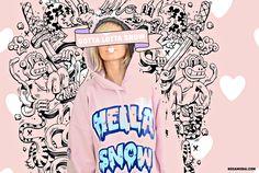 Hella Snow Hoodie PInk