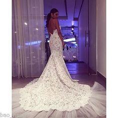 Spaghetti Straps Lace Mermaid Wedding Dress Long Train Open Back Bridal Gown New