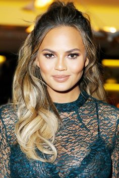 How Chrissy Teigen Wears Her Second-Day Curls #refinery29  http://www.refinery29.com/2015/11/97634/chrissy-teigen-half-up-hair