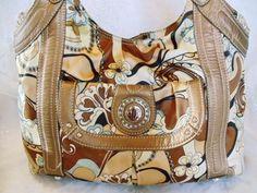 MOD Authentic Designer Genna De Rossi LARGE Gold Floral HOBO Shopper Purse   5d886565b79a1