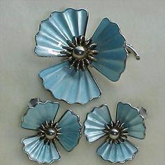 Einar Modahl Modernist Blue Enamel Flower Brooch Pin Earrings Norway