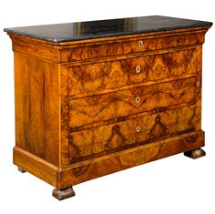 1stdibs | Magnificent Flame Walnut French Chest