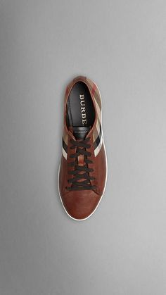 Check cotten leather trainers -- Burberry, Fall 2012
