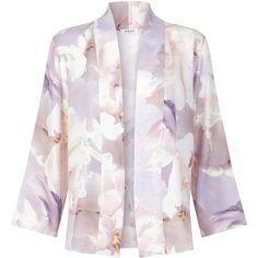 NEUE - Woolf Silk Jacket (12.030 RUB) ❤ liked on Polyvore featuring outerwear, jackets, silk kimono, flower print jacket, silk kimono jacket, floral jacket and floral kimono
