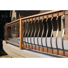 Can be used with wood and composite deck railing systems. The rectangular balusters cost slightly more than wood balusters but they won't warp, split, or splinter like wood. Composite Deck Railing, Deck Railing Systems, Wood Deck Railing, Deck Balusters, Balustrades, Deck Stairs, Banisters, Porch Railing Designs, Balcony Railing Design