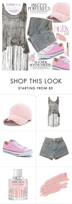 """Pink and Grey"" by vanjazivadinovic ❤ liked on Polyvore featuring Converse, American Apparel, Jimmy Choo, Jane Iredale, polyvoreeditorial and twinkledeals"
