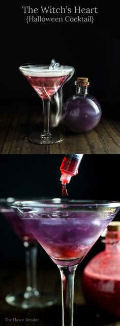 The Witch's Heart - This shimmery Purple and Red cocktail is the perfect…