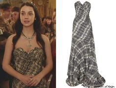 Reign 1x17 -- Oscar de la Renta Plaid-Print Pleated Silk-Chiffon Gown