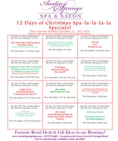 Happy Spa-lidays! We hope you enjoy our December specials.