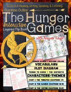 The Hunger Games, by Suzanne Collins: Interactive Layered Flip Book Middle School Literature, Middle School Writing, Middle School English, Guided Reading Questions, Hunger Games Novel, Book Study, Interactive Notebooks, Reading Notebooks, Book Activities