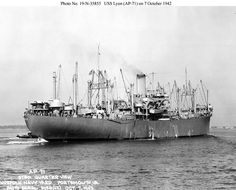"""USS Lyon (AP-71) off Norfolk Navy Yard, 7 October 1942. Note she has retained the seven pairs of kingposts that were fitted to her as a merchant ship and also of note is the 4""""/50 gun at the stern on a platform just aft of and below the after pair of 3""""/50 guns. US National Archives photo #'s 19-N-35854, 19-N-35855 and 19-N-35856 US Navy Bureau of Ships photos now in the collections of the US National Archives."""