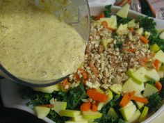 Above Hoarded Gold: Kale and Apple Salad with Curried Almond Dressing