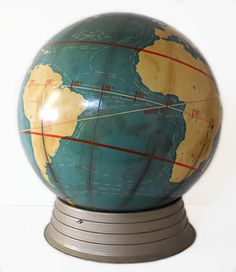 """16 Inch , Cram """"Project"""" Globe, (Published: The George F. Cram Co. 1950 ca. Old Globe, Globe Art, Cool Globes, We Are The World, World View, Old Maps, Its A Wonderful Life, Around The Worlds, Old Things"""