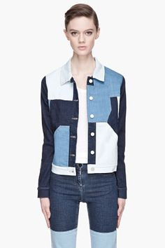 SURFACE TO AIR Blue patchwork Cropped Denim jacket