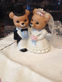 Vintage Wedding Cake Topper Teddy Bear By Abridesmaidky On Etsy