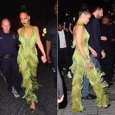 Rihanna Limpasse green fringe jumpsuit, Lydia Courteille tsavorite and brown…