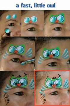 fast, quick and easy owl face paint tutorial. Step by step photos for a sweet little face paint. Owl Face Paint, Mime Face Paint, Homemade Face Paints, Homemade Paint, Body Image Art, Body Art, Face Painting Designs, Painting Patterns, Painting Lessons