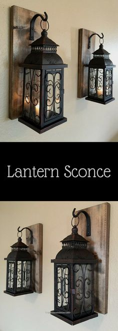 Nice Neat Lantern pair wall decor, wall sconces, bathroom decor, home and living, wrought iron hook, rustic wood boards, bedroom decor, rustic home décor, diy, country, living room, farmhouse ..