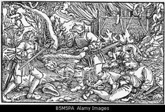 military, Landsknechts, looting and burning a village, woodcut, early, 16th century, raid, violence, soldiers, mercenaries, war, Stock Photo