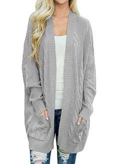 db24a699cf5c Great for Shawhuwa Shawhuwa Womens Plus Size Open Front Knit Long Cardigan  Sweater Pockets Women s Fashion