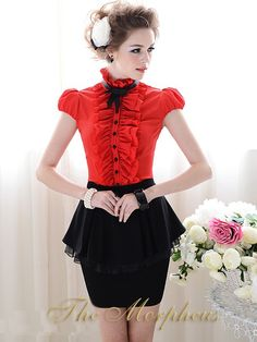 Morpheus Boutique - Red Lovely Designer Lady Cap Sleeve Ruffle Collar Shirt