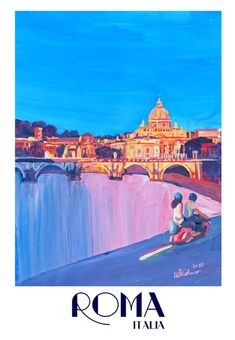 Rome Scene with Motorcycle and view of Vatican with Dome of St
