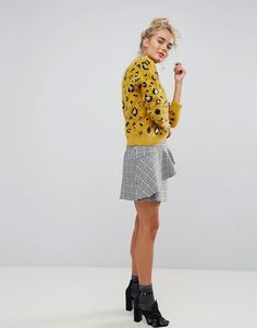 Willow and Paige | Willow And Paige Oversized High Neck Jumper In Fluffy Leopard