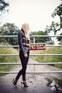 Maje aw12 jacket; LNA tee; Gina Tricot jeans; Fashionology & Tusk rings; Bebe shoes