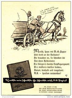 Original-Werbung/ Anzeige 1941 - BRIEFPAPER MAX KRAUSE / MOTIV SOLDATEN MIT PFERD - ca. 90 x 120 mm