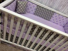 Baby Bedding Crib Bedding Cot Set Crib set - Bumpers/sheet/adjustable skirt- Purple lavender Chevron and Gray geometric Stripes Purple Crib Bedding Sets, Baby Girl Bedding, Baby Bedroom, Baby Cribs, Cot Sets, Diy Baby Gate, Grey Crib, Patchwork Baby, Crib Mattress